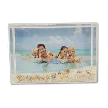 Portafotos rectangular con arena de playa