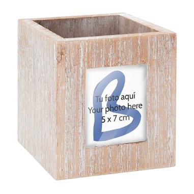 Portalápices portafotos de madera