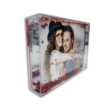 Portafotos rectangular con corazones rojos - Perfil