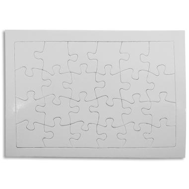 Puzzle de cartón para sublimación 24 piezas con marco - Detalle puzzle en blanco