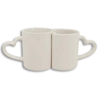 Set de 2 tazas blancas con asa corazón - Tono beige