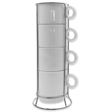 Set de 4 tazas blancas apilables para sublimación con asa circular y soporte