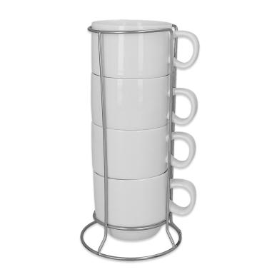 Set de 4 tazas blancas apilables para sublimación con soporte metálico