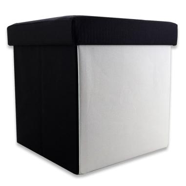 Taburete plegable para almacenaje tapa negra