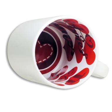 """Taza blanca con interior impreso diseño """"Te amo"""""""