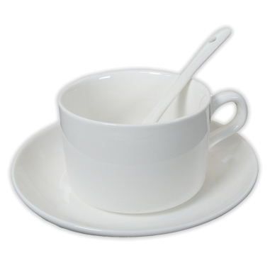 Taza de café con leche para sublimación con plato