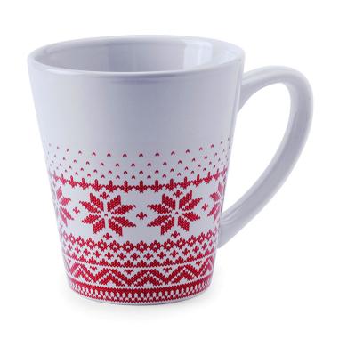 Taza cónica blanca con motivos de Navidad
