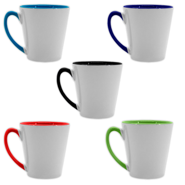 Taza cónica de 12oz con interior y asa de color