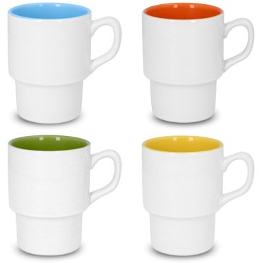 Taza blanca apilable para sublimación con interior de color