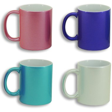Taza color con efecto purpurina