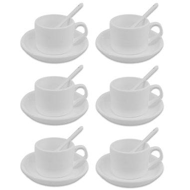 Taza de café para sublimación con plato y cuchara - Pack de 6 uds