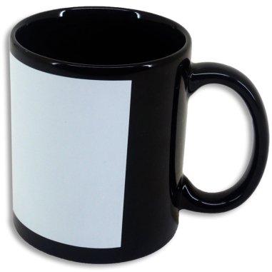 Taza de color negro con espacio para imprimir - Detalle lateral en blanco