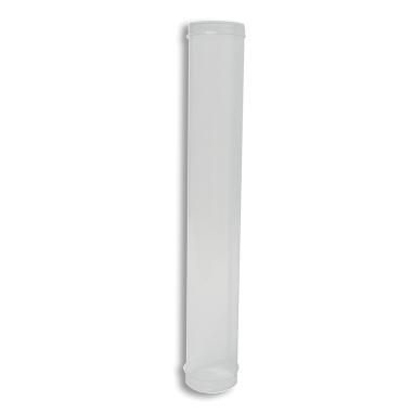 Tubo para rollos de plastico transparente de Ø50mm x 310mm con tapa