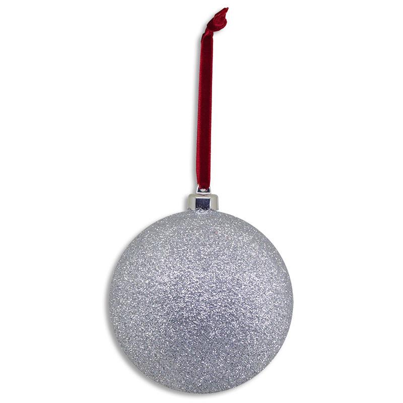 Adorno forma bola plateada para rbol de navidad brildor - Bola arbol navidad ...