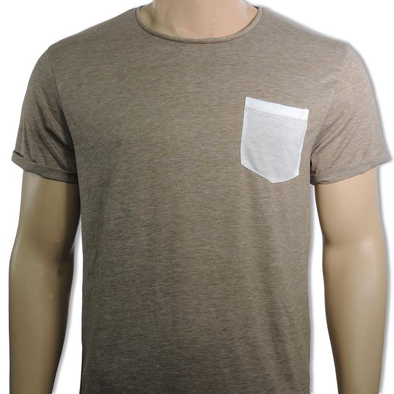 Camiseta Pocket para sublimación - Marrón tabaco con bolsillo blanco da1d086df1b4e