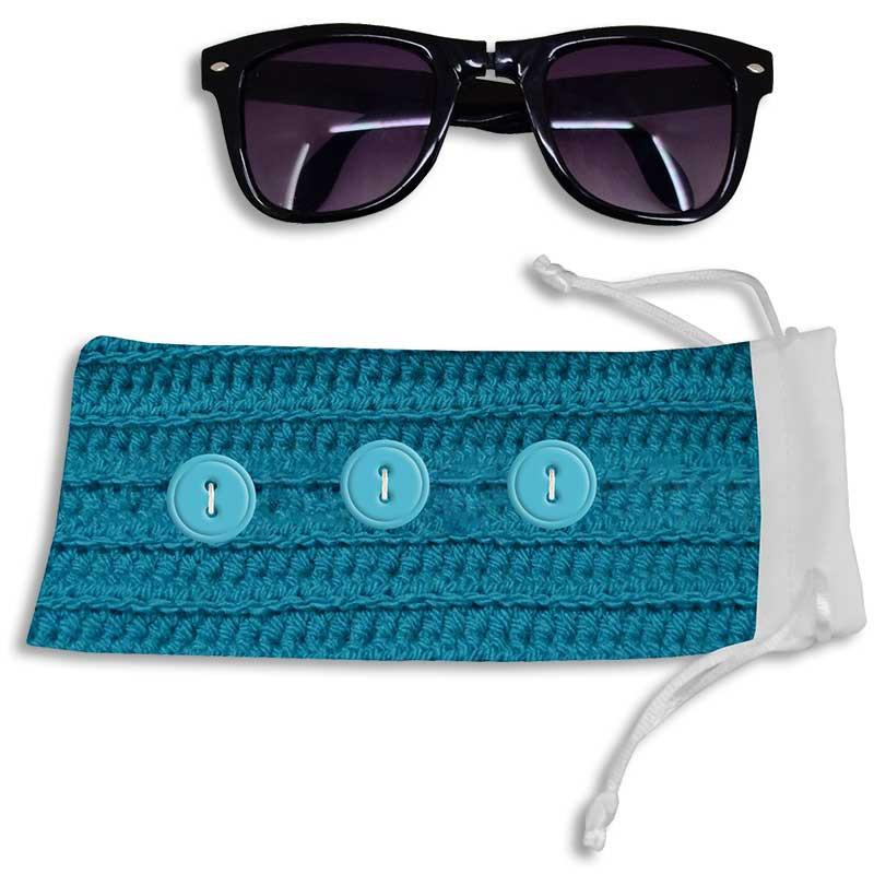 35df351efa Funda de tela para gafas con cierre cordón - Detalle ejemplo funda  personalizada y gafas