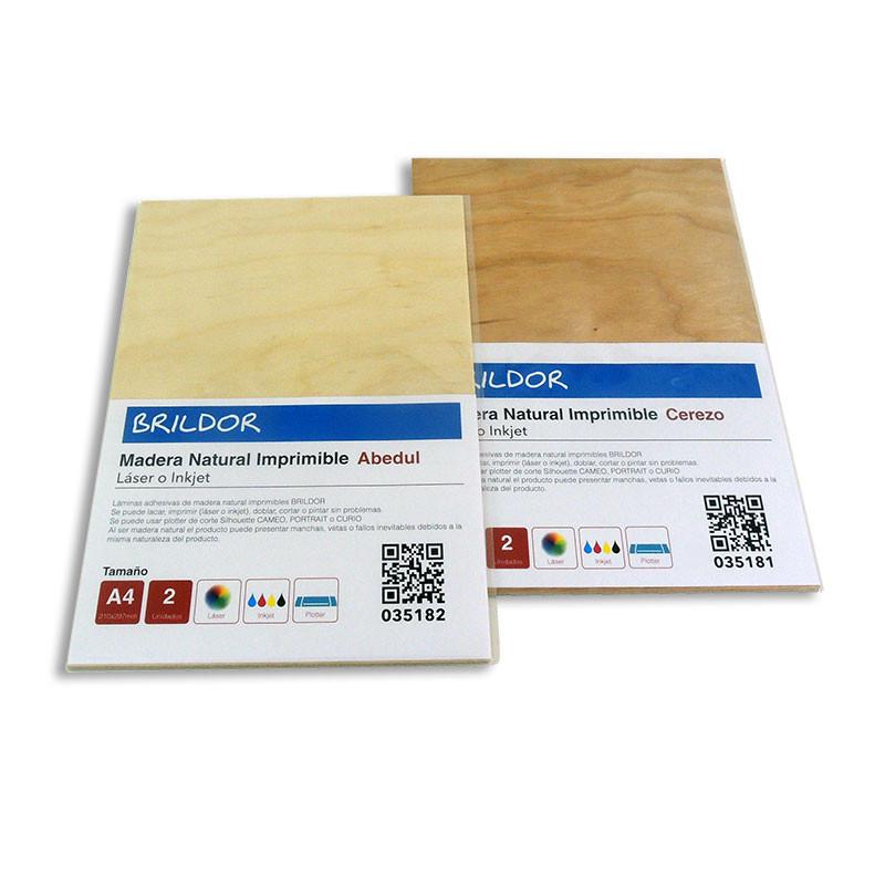 Láminas de madera imprimibles adhesivas - Pack 2 hojas A4 • Brildor ®