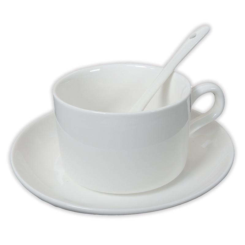 Taza de caf con leche con plato y cuchara brildor for Capacidad taza cafe con leche