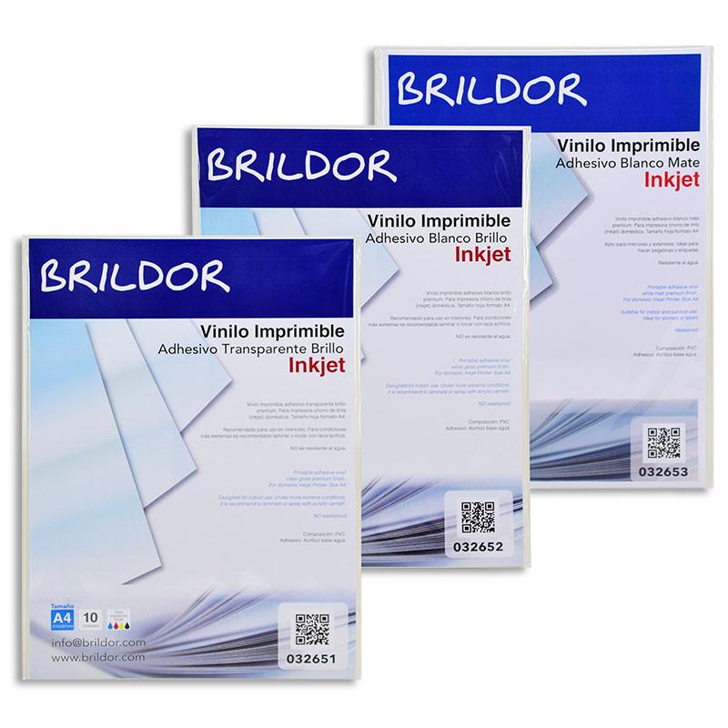 Vinilo Adhesivo Imprimible Inkjet - Pack de 10 hojas • Brildor ®