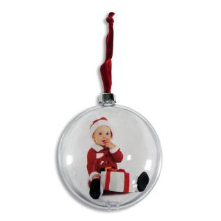 Adorno forma bola plateada para árbol de navidad