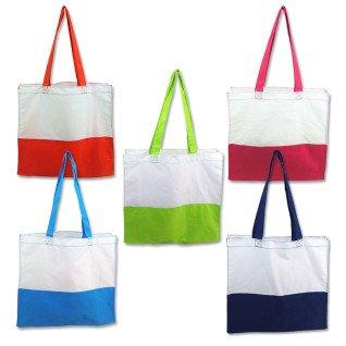 Bolsas de tela blanca con base y asas de colores