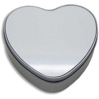 Caja de metal corazón con placa - Detalle sin sublimar