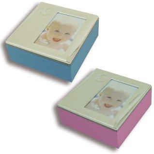 Cajas de regalo metálicas infantiles de colores con portafotos
