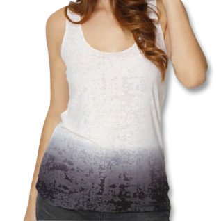 Camiseta tirantes de chica bicolor degradado  - Negra