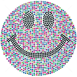"Diseño Pedrería ""Happy Face"" Neón multicolor"