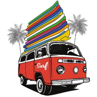 Diseño transfer furgoneta con tablas de surf - Pack de 4 uds - Sobre tejido blanco