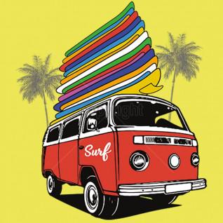 Diseño transfer furgoneta con tablas de surf - Pack de 4 uds - Sobre tejido color
