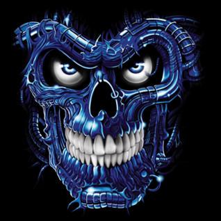 Diseño Transfer Terminator Skull Blue - Sobre tejido negro