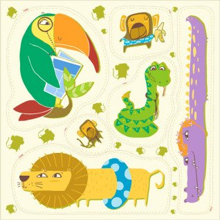 Diseño recortable tejido león nadador