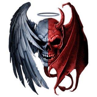 Diseño transfer Heaven Hell Skull