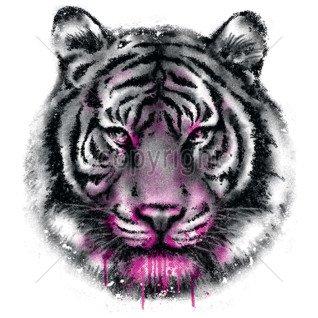 Diseño Transfer Cara de tigre Neon pack 4 uds