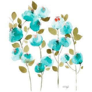 Diseño Transfer flores azules acuarela