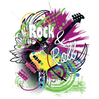 Diseño Transfer Rock and roll guitarra abstracta pack 4 uds
