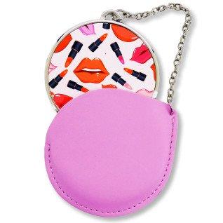 Estuche de cuero rosa con espejo redondo - Personalizado