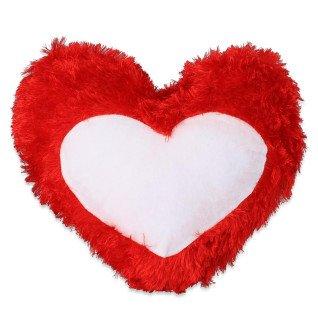 Funda cojín para sublimación tacto peluche forma corazón rojo