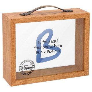 Hucha de madera forma maleta