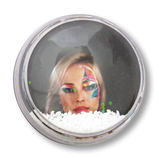 Imán bola de nieve copos con forma burbuja - Frontal