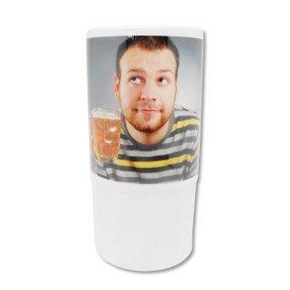 Jarra alta de cerámica para cerveza personalizada - Frontal