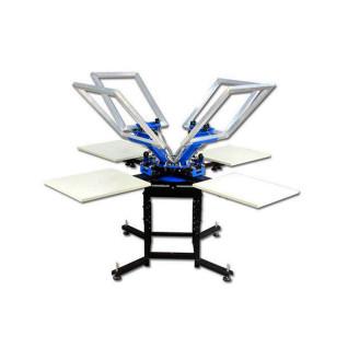 Máquina de serigrafía manual de 4 colores con 4 bases