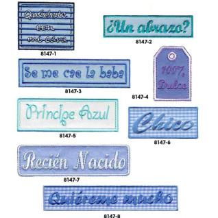 Parches bordados Bebes azul Surtido 8 uds