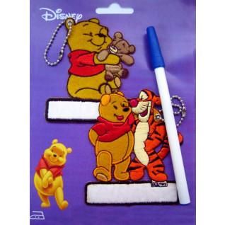 Marcadores de prendas bordados Winnie y Tigger con bolígrafo