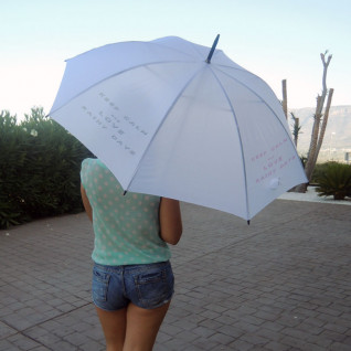 Paraguas con sistema antiviento blanco