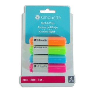 Pack bolígrafos fluorescentes 4 colores para plotters Silhouette
