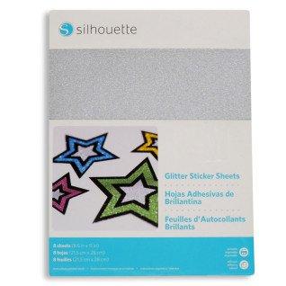 Papel adhesivo imprimible Silhouette con purpurina