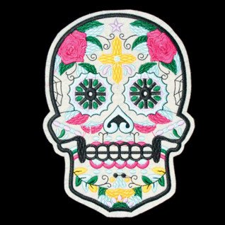 Parche bordado calavera multicolor