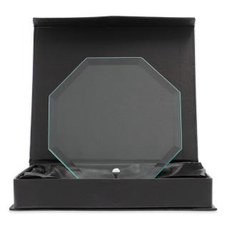 Placa trofeo de cristal forma octogonal de sobremesa